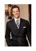 SKU# DB-W89 Brand New SUPER Wool Black Pinstripe Double Breasted Our Price $189
