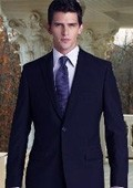 SKU#HX9019 R&H Flat Front No Pleated Pants 2 Button Style Navy Blue Suit With Flat Font No Pleated P