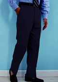 SKU#WS412 PA-100 Navy premeier quality italian fabric Flat Front Mens Wool Dress Pants Hand Made Relax Fit $69