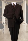 SKU#OL9800 Brown 3pc Pinstripe Suit With Vest For Kids $99
