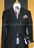 Button Black Pinstripe Wool