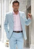 SKU#PG14 2 Button Style Light Blue ~ Sky Blue (Powder Blue) Suit $110