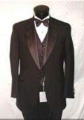 1 Button Notch Super 120's Wool Feel Poly-Rayon Premiere Quality Italian Fabric + Tuxedo Shirt + Bow Tie $129