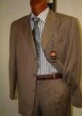SKU# GTLK 3 Buttons Single Breasted Camel~Gold Pinstripe Super 120's Wool $139