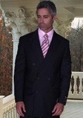 SKU# ASA165 JPR-27 CLASSIC DOUBLE BREASTED SOLID COLOR BLACK MENS SUIT $179