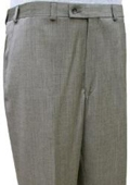 SKU#UAS622 Mantoni~Bertolini Umo Black and Sand Mini Herringbone CK Flat Front Pant $99