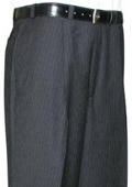 SKU#KLA312 Mantoni~Bertolini Umo Black Pinstripe CK Single Pleat Pant $99