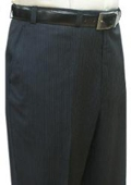 SKU#MAS711 Mantoni~Bertolini Umo Navy Multi Stripe Single Reverse Pleat Pre-cuffed bottom $105