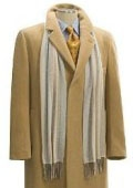 SKU# JDS588 Camel~Bronz Men's Full Length Overcoat in Pure Wool Blend Hidden Buttons Fully Lengh Coat $199