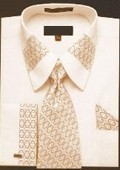 Pattern Fench Cuffed Shirt