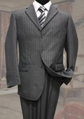 SKU#CL1893 Charcoal Classic 2PC 3 Button Tone On Tone Stripe Mens Suit $99