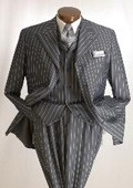 EMIL_ H63SO Charocal Gray Bold Chalk White Pinstripe Vested Suit 3 Buttons, 34' Length, Peak Lapel