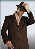 "SKU#Sentry Choclate Brown overcoat 45"" single breasted 3 button style wool&cashmere $199"