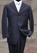 SKU#LM2800 Classic 2PC 3 Button Navy Tone On Tone Stripe Mens Suit $99