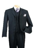 SKU#EMIL_58TA Classic Long Solid Black Fashion Zoot Suit $139