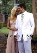 SKU# TCQ664 Classic 1 Button White Dress Notch Lapel Tuxedo Single Breasted $149