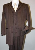 SKU#MU17071 CoCo Brown Long Fashion Shiny look Shadow Ton on Ton Pinstripe Vested Suit $159
