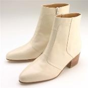 Style MUU805759 Cream/Ivroy/OFF White Calfskin Zip Dress Boot high heel $99