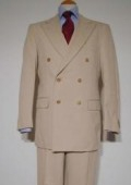 SKU# ZLT-DB Tan Pure Virgin Wool Feel Rayon Viscose Double Breasted Men's Suit $175