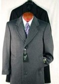 SKU#KLO227 Darkest Charcoal Gray Single Breasted Wool Blend Topcoat Long 46 inches in length $189