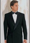 SKU#HD389 Double Breasted Black Tuxedo Super 150 Extra Fine Italian Wool Hand Made French Cut $769