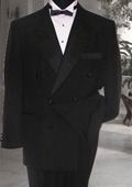 SKU#TB38922 Double Breasted Mens Black Tuxedo Super 150's French Cut $269