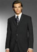 SKU# ZL77 Exclusive Simple & Classy Smooth Solid Black Men's 3 Button premeier quality italian fabric Design $139
