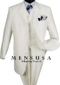 SKU# T644TR Fashion Solid White 3 or 4 Buttons 3 Pieces Vested Dress Suit $139