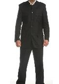 Mens Black Linen Mandarin