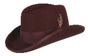 GODFATHER NEW MENS Burgundy ~ Maroon ~ Wine Color 100% Wool Homburg Dress Hat 4201 $49