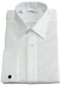 SKU#110MFC10 Gitman Solid White Point Collar French Cuffed Pin-Point Dress Shirt $100
