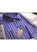 Gitman Golden Elite Navy Stripe in 120's Sateen Twill $169