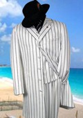 SKU# MYZ7 Gorgeous White & Black Pinstripe Pattern Fashion FASHION ZOOT WITH VEST $139