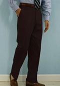 SKU#SQ233 PA-100 Brown premeier quality italian fabric Flat Front Mens Wool Dress Pants Hand Made Relax Fit $69