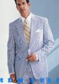SKU#EFO938 Causal White & Sky Blue Pinstripe Seersucker Summer Suits 2 Button Cotton Summer Suits Cool