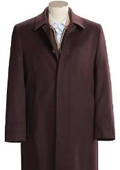 SKU#Florance Hidden Button CoCo Brown Men's Full Length Overcoat Wool&Cashmere Fully Lengh Coat $249