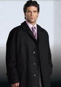 SKU#Florance Hidden Button Jet Black Men's Full Length Overcoat Wool&Cashmere Fully Lengh Coat $249