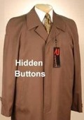 SKU#Florance Hidden Button Tobacco~Copper Men's Full Length Overcoat Wool&Cashmere Fully Lengh Coat