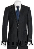 SKU# MUR627 High Quality 2 Button Subtle Muted Conservative Navy Blue Pinstripe Super 140's Wool Suit