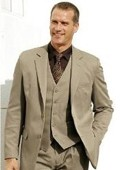 SKU#7781 High Quality Dark Tan ~ Beige 2 Btn Vested 100% Wool Feel Poly Rayon three piece suit Notch lapel Vented $189