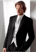 SKU# GB78 $775 High Quality Umo 2-Button Super 120's Wool Tuxedo + White Shirt+White Tie+White Vest