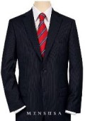 SKU# S80028 High-quality Construction 2 Button Navy Blue MiniStripe Ultimate Tayloring&Wool $199