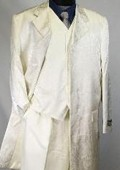 SKU#MUO38V Ivory~Cream~OFF White 38 Inch Tonal Sliky Floral Paisly Print Jacket reversable Vest $18