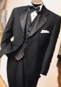 SKU# JPL-90 JET Black Super 150's 3 Button Tuxedo Jacket + Pants + Black Vest + Shirt+BowTie $199