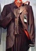 SKU# Jp61 Men's 3 Piece Black & Red Stripe Vested Suit Super 120's Wool 3 Button Suit $165