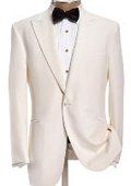 SKI#MU104  Peak Lapel Collar Snow White 1 Button Tuxedo Jacket + Pants $189