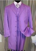 SKU#73P Emil_T75 Lavender 3PC ZOOT SUIT WITH VEST 38'INCH LONG JACKET WITH COVERED BUTTON. 139