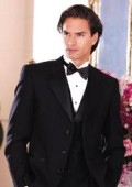 SKU# I-MUT4 Light Weight Quality Black 3 Button Tuxedo (Packge) With Falt Front Pants $269