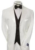 SKU# MG97 Light Weight White Mens Tuxedo 3 Buttons + Black Vested + Tuxedo Shirt & Bow Tie Package $189