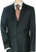 SKU# F4489 Lightweight Worsted Wool Small Black  'Travelor' Small Mini Pinstripe $295